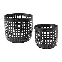 LUSTIGKURRE - Basket, set of 2, black bamboo
