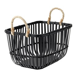 LUSTIGKURRE - Basket with handles, black bamboo