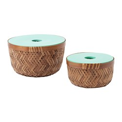 LUSTIGKURRE - Basket with lid set of 2, bamboo/turquoise
