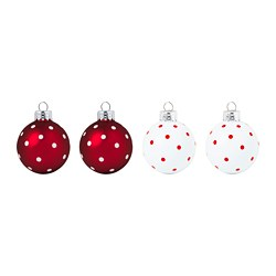 VINTER 2020 - Decoration, bauble, glass white/red