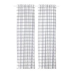 ROSALILL - Curtains, 1 pair, white/blue