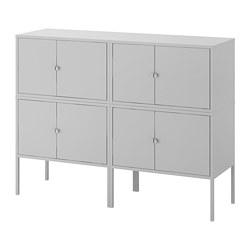 LIXHULT - LIXHULT, kombinasi kabinet, abu-abu, 120x35x92 cm
