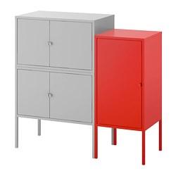 LIXHULT - Kombinasi kabinet, abu-abu/merah