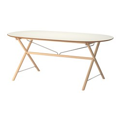 SLÄHULT - Table, white/Dalshult birch