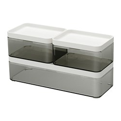 BROGRUND - Box, set of 3, transparent grey/white