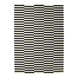 STOCKHOLM - Rug, flatwoven, handmade/striped black/off-white