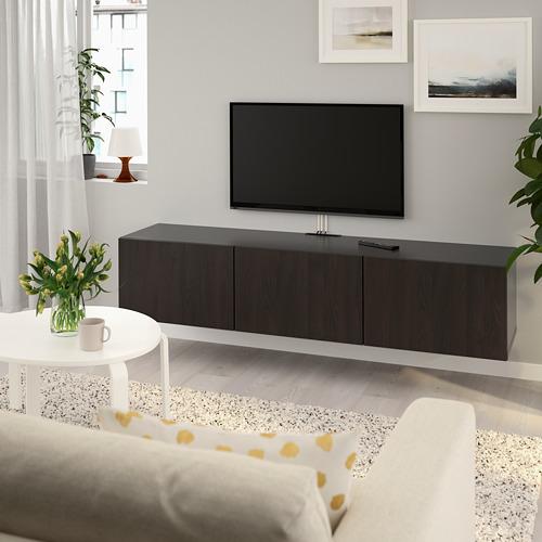 BESTÅ - meja TV dengan pintu, hitam-cokelat/Lappviken hitam-cokelat, 180x42x38 cm | IKEA Indonesia - PE734040_S4