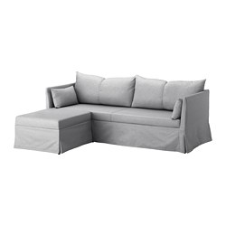 SANDBACKEN - Corner sofa-bed, Frillestad light grey