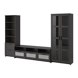 BRIMNES - TV storage combination/glass doors, black