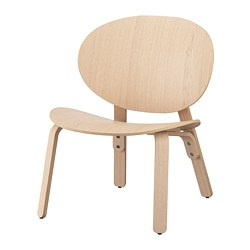 FRÖSET - Kursi malas, veneer kayu oak diwarnai putih