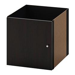 KALLAX - Sisipan dengan pintu, hitam-cokelat