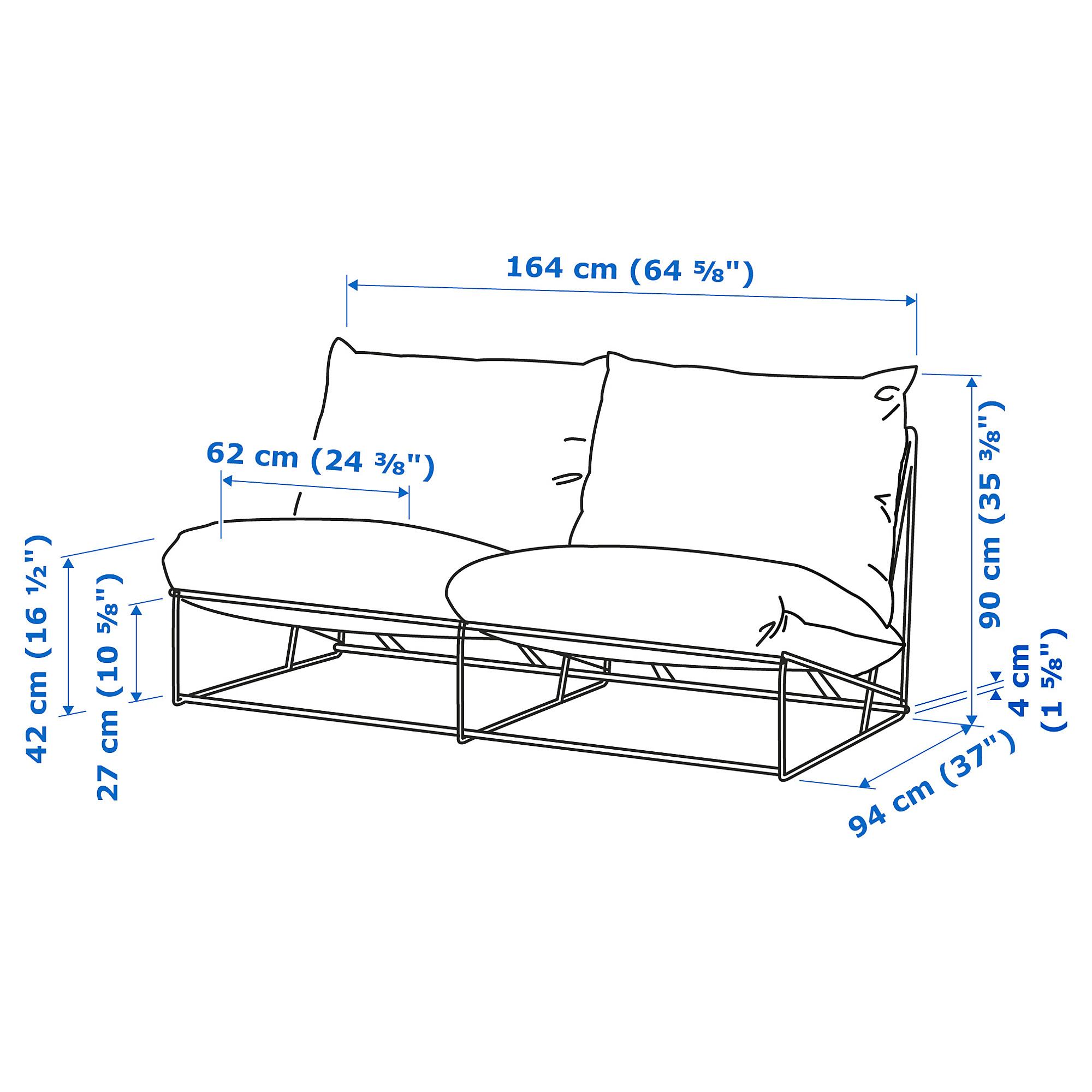 Havsten 2 Seat Sofa In Outdoor Without Armrests Beige 164x94x90 Cm Ikea Indonesia Ukuran sofa 2 seat