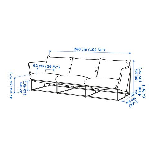 HAVSTEN sofa 3 dudukan, dalam/luar ruang