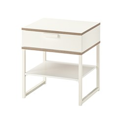 TRYSIL - Bedside table, white/light grey