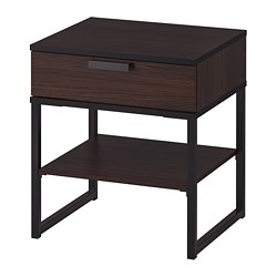 TRYSIL - Bedside table, dark brown/black