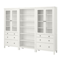 HEMNES - Storage combination w doors/drawers, white stain, 270x198 cm