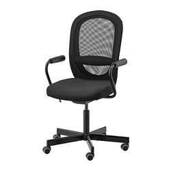 FLINTAN/NOMINELL - Office chair with armrests, black