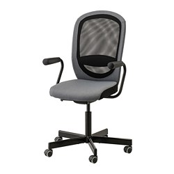 NOMINELL/FLINTAN - Office chair with armrests, grey