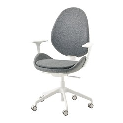HATTEFJÄLL - Office chair with armrests, Gunnared medium grey/white