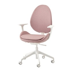HATTEFJÄLL - Office chair with armrests, Gunnared light brown-pink/white