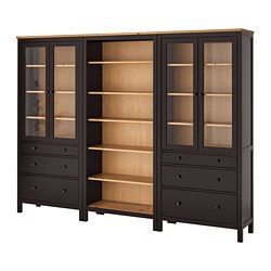HEMNES - Storage combination w doors/drawers, black-brown/light brown