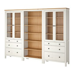 HEMNES - Storage combination w doors/drawers, white stained/light brown