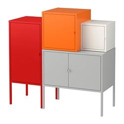 LIXHULT - Kombinasi penyimpanan, abu-abu/putih/oranye/merah