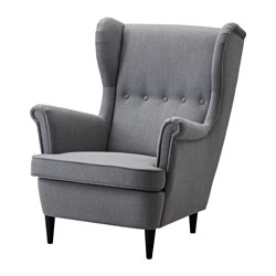 STRANDMON - Wing chair, Nordvalla dark grey