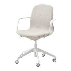 LÅNGFJÄLL - Office chair with armrests, Gunnared beige/white