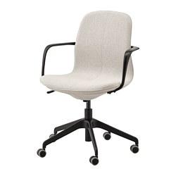 LÅNGFJÄLL - Office chair with armrests, Gunnared beige/black