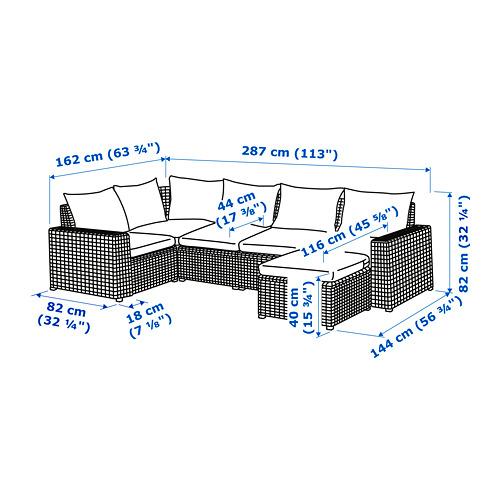 SOLLERÖN sofa sdt 4 ddkn mdlr, luar ruangan
