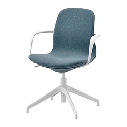 LÅNGFJÄLL - Conference chair with armrests, Gunnared blue/white