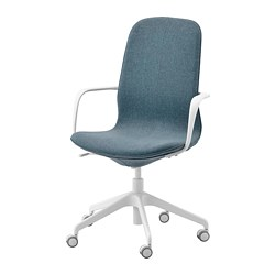 LÅNGFJÄLL - Office chair with armrests, Gunnared blue/white
