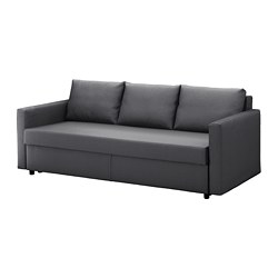 FRIHETEN - Three-seat sofa-bed, Skiftebo dark grey