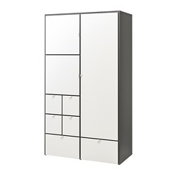 VISTHUS - Wardrobe, grey/white