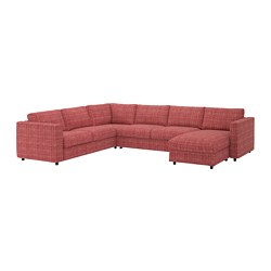 VIMLE - Corner sofa-bed, 5-seat, with chaise longue/Dalstorp multicolour