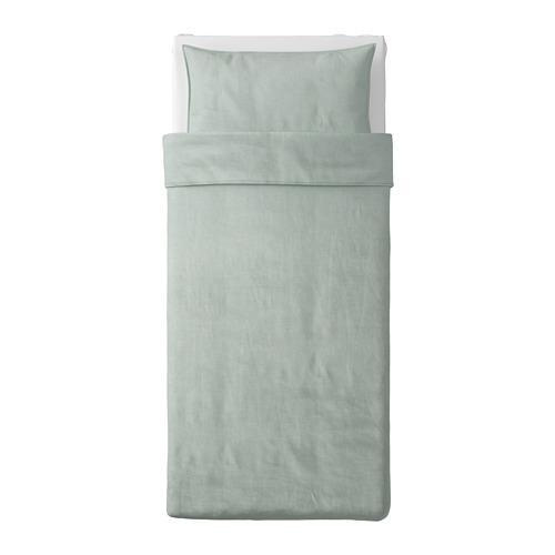 BERGPALM - sarung duvet dan sarung bantal, hijau/garis-garis, 150x200/50x80 cm | IKEA Indonesia - PE692810_S4