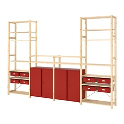 IVAR - Shelving unit w cabinets/drawers, pine/red