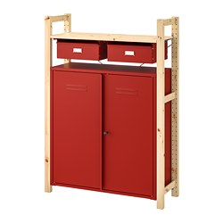 IVAR - Shelving unit w cabinets/drawers, pine red