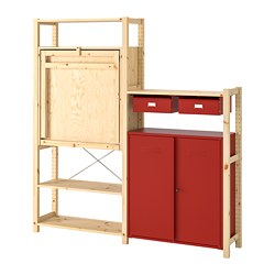 IVAR - Shelv unit w table/cabinets/drawers, pine/red