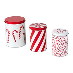 VINTERFEST - Tin with lid, set of 3, mixed sizes white/red