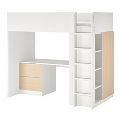 SMÅSTAD - Loft bed, white birch/with desk with 3 drawers, 90x200 cm