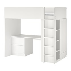 SMÅSTAD - Loft bed, white with frame/with desk with 3 drawers, 90x200 cm