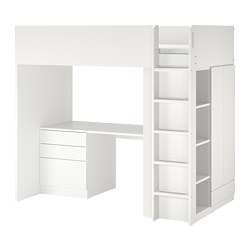 SMÅSTAD - Loft bed, white white/with desk with 4 drawers, 90x200 cm
