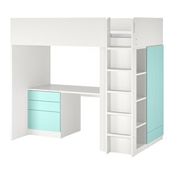 SMÅSTAD - Loft bed, white pale turquoise/with desk with 4 drawers, 90x200 cm