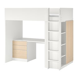SMÅSTAD - Loft bed, white birch/with desk with 4 drawers, 90x200 cm
