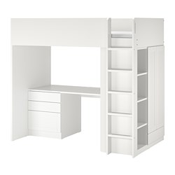 SMÅSTAD - Loft bed, white with frame/with desk with 4 drawers, 90x200 cm