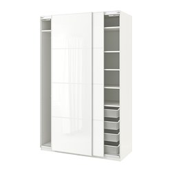 PAX - Wardrobe, white/Färvik white glass
