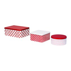 VINTERFEST - Tin with lid, set of 3, mixed shapes white/red