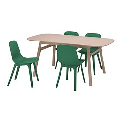ODGER/VOXLÖV - Meja dan 4 kursi, bambu/hijau